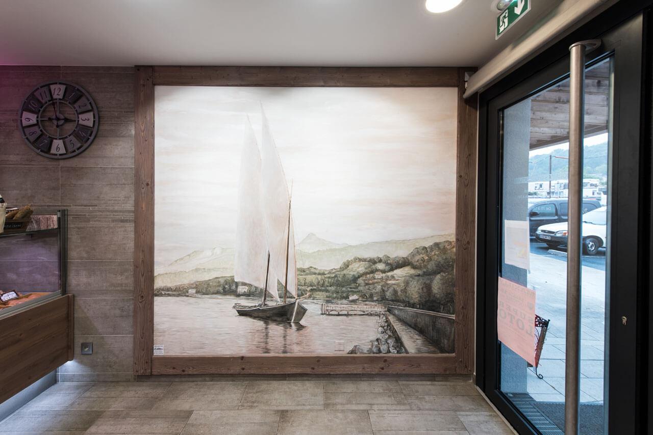 Decorelle réalisation d'une fresque présentant un bateau Lac Léman
